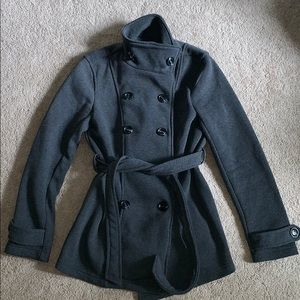Pea coat with waist tie
